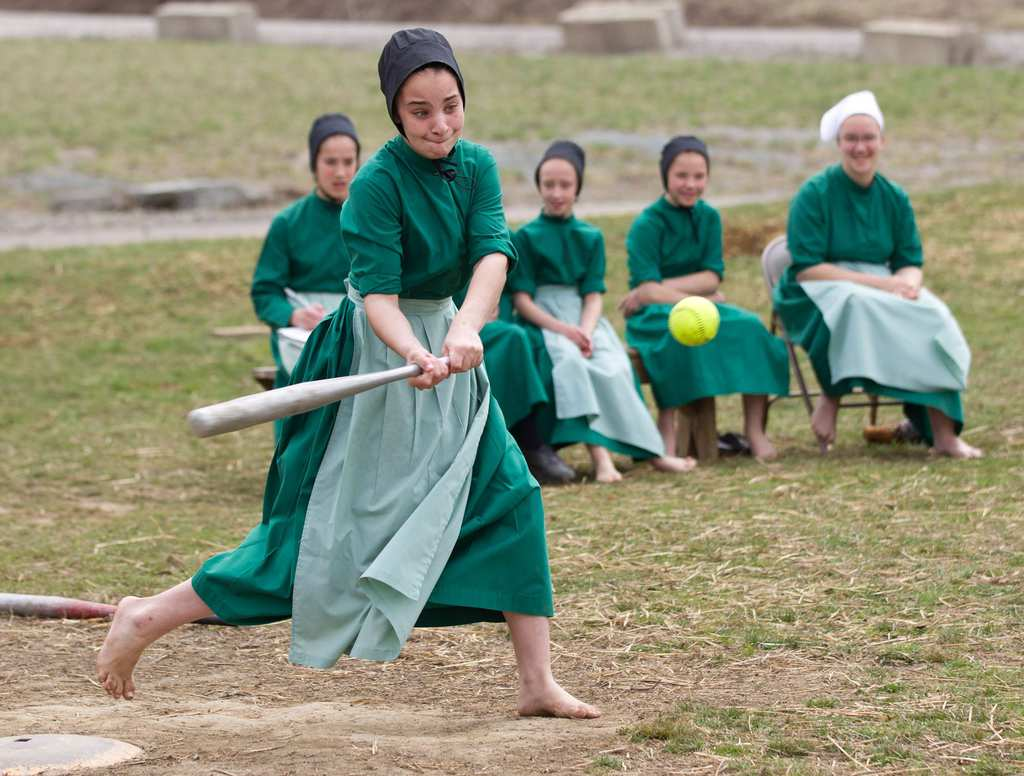 Amish Softball Players
