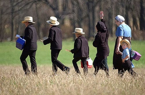 Amish People Walking