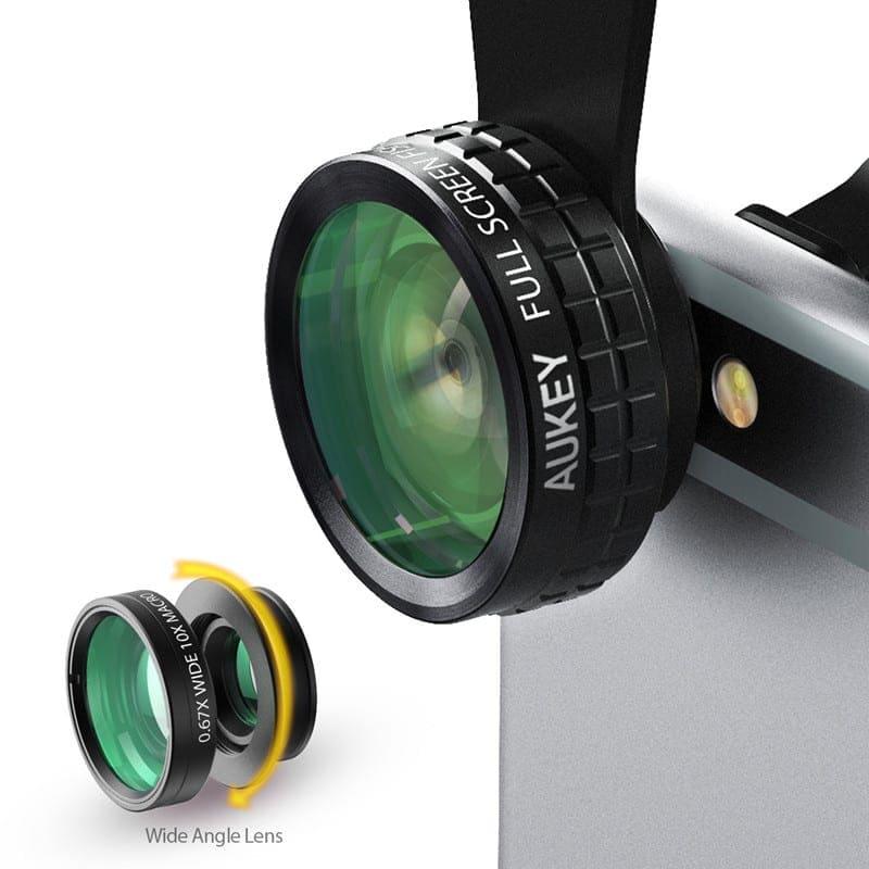 AUKEY-Mini-Clip-on-Optic-Cell-Phone-Camera-Lens-Kit-180-Degree-Fisheye-Lens-110-Degree