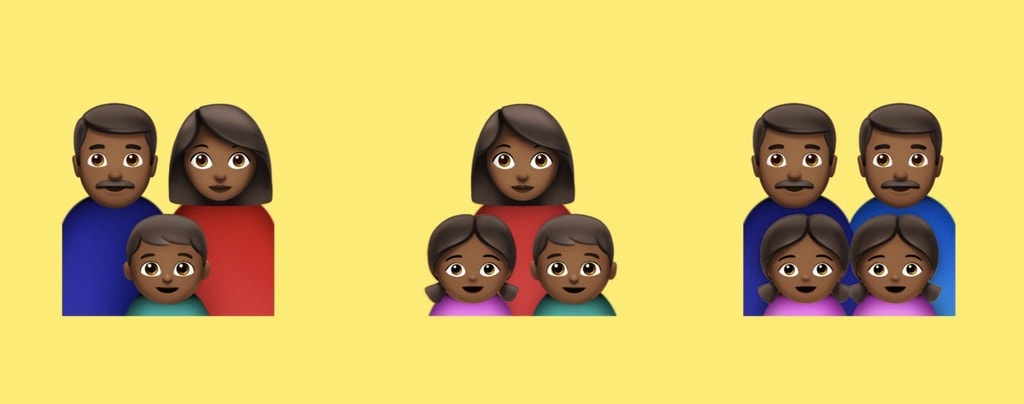 Black family emojis