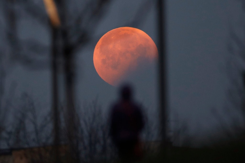 People observing the red moon during a Total Lunar Eclipse